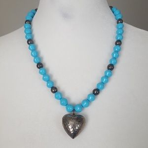 Alabaster Blue Bead and Silver Heart Pendant